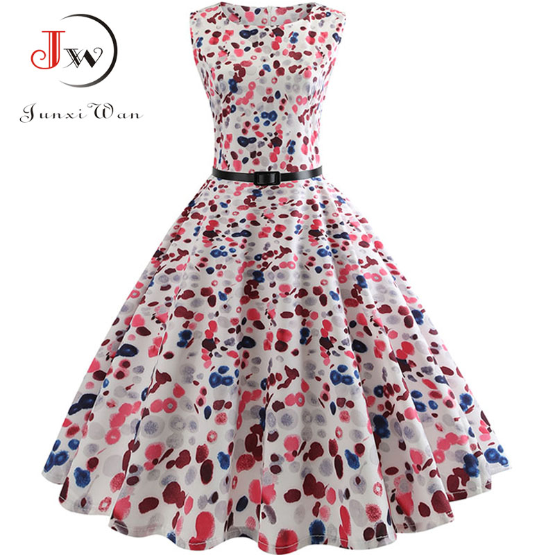 Polka Dot Women Summer Dress 2018 Sleeveless 50s 60s Print Vintage Belt Tunic Elegant Party Dress Sundress Midi A-Line Dresses
