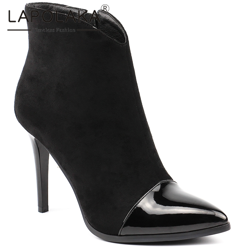Lapolaka 2019 Brand New Large Size 35-42 Zip Up Ankle Boots Woman Shoes Pointed Toe Thin High Heels Shoes Woman Boots FemaleLapolaka 2019 Brand New Large Size 35-42 Zip Up Ankle Boots Woman Shoes Pointed Toe Thin High Heels Shoes Woman Boots Female