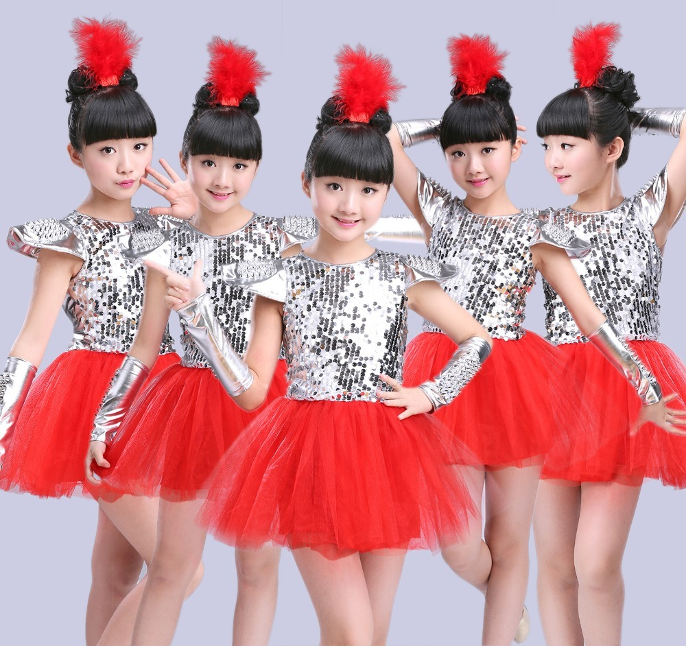 Children Jazz Dance Costumes Sequins Girls Street Dance Show Clothes Kids Hip Hop Stage Dancing Suits Jazz dance dress for girls