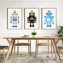 Nordic Canvas Wall Art Cartoon Robot Picture Modern Poster Pictrues For Living Room Kids Bedroom Home Decor No Frame