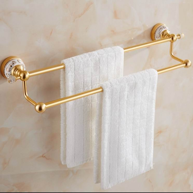 Free Shipping Luxury Gold-plating Finish brass Double towel bar crystal Dual towel bar Ceramic towel holder Bath Accessories free shipping new design gold round double towel bar