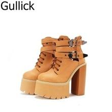 New Punk Fashion Black White Laceup Buckle Strap Round Toe Platform Women Shoe High Heel Casual Match Booties Free Ship