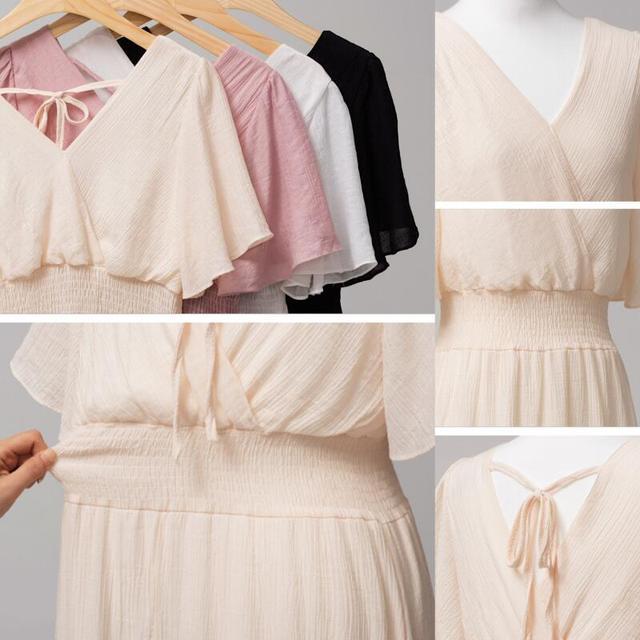 plus size dress white bandage elegant midi pink chiffon black office summer ruffle big vestiti donna v neck tallas grandes mujer 5