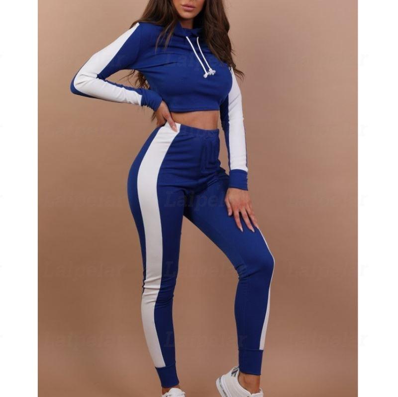Laipelar Bandaeg Crop Top Two Piece Set Women Casual Patchwork Tracksuit Color Block Hooded Long Sleeve Sweatshirt Pants Suits