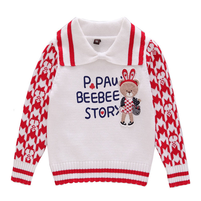 2~7Y Baby Girls Sweaters Knitting Cotton Casual Kids Girls Pullovers Spring Autumn Winter Lovely Bear Children Clothing