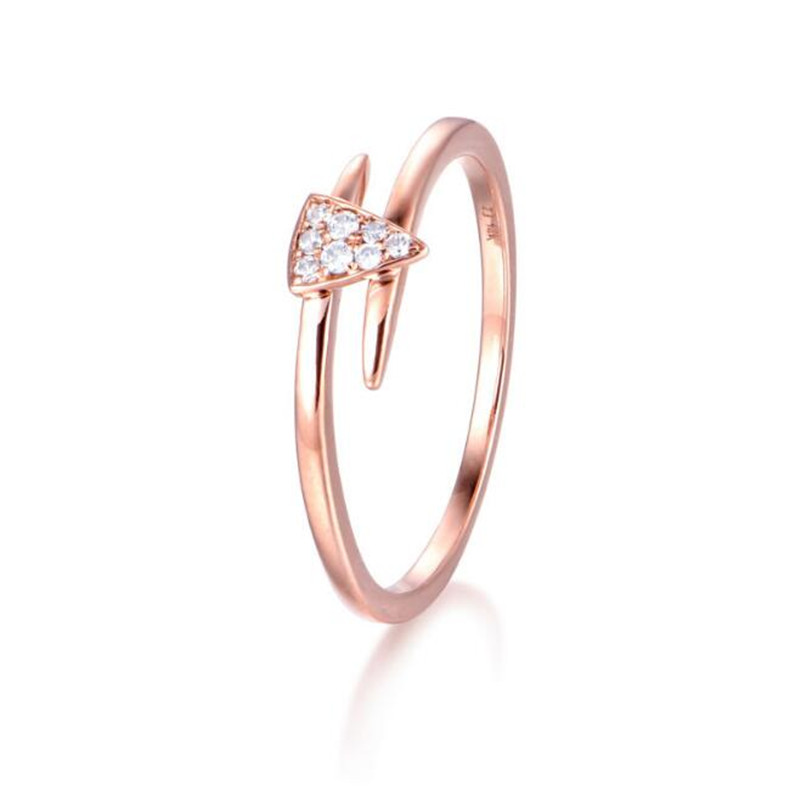 New Fashion 100% 18K Gold Triangle Band Gold-Color Finger Ring For Women Princess Cut Clear Crystal CZ Promise Jewelry 1.57G yoursfs 18k white gold plated austria crystal soliraire anniverary rings with princess cut