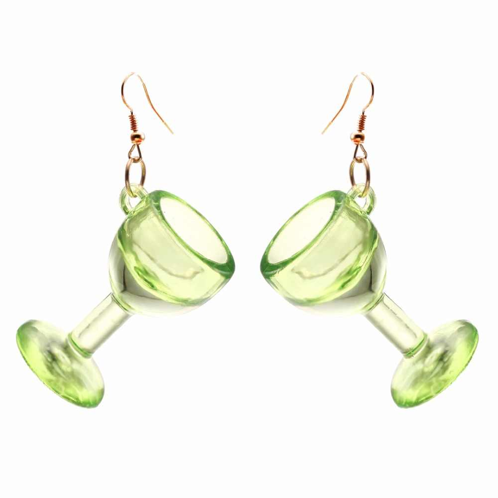 YULUCH 2018 Aesthetic women's jewelry clear and transparent acrylic creative wine glass earrings pendant party gifts
