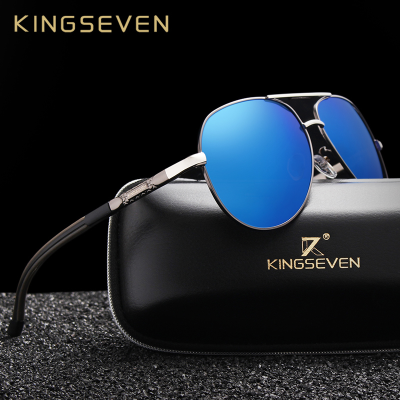 KINGSEVEN Protezione Classic Pilot di Guida In Metallo Struttura in metallo Occhiali Da Sole Maschili Occhiali Occhiali UV400 Gafas De Sol