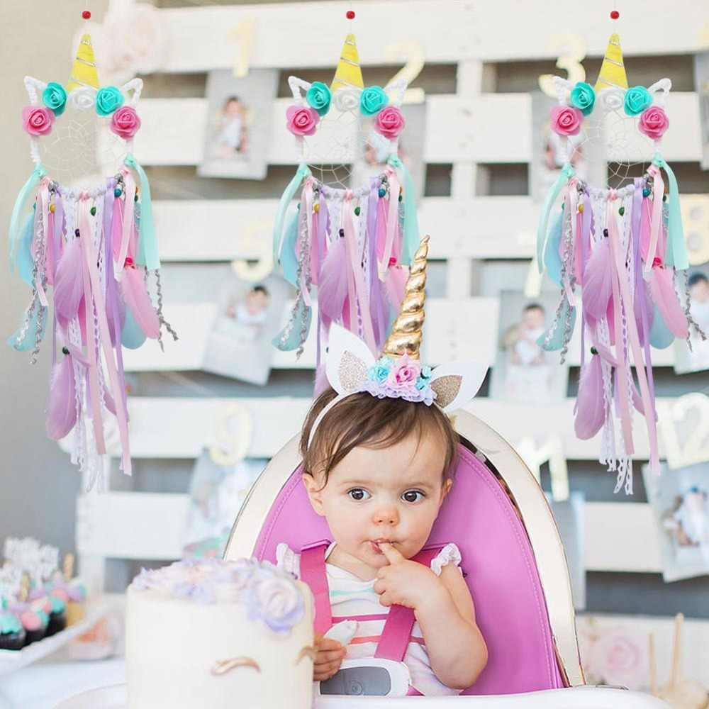 OurWarm Unicorn Dreamcatcher สำหรับห้องพักหญิงเนอสเซอรี่ตกแต่งผนังแขวนตกแต่ง Dream Catcher เด็กของขวัญวันเกิด