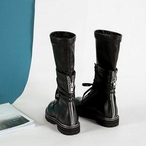 Image 4 - MORAZORA 2020 חדש אופנה חורף צבאי מגפי נשים אמיתי עור תחרה עד zip פאנק פלטפורמת נעלי אישה אמצע עגל מגפיים