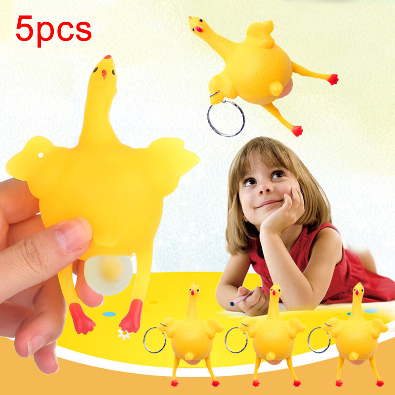 5 Pcs/Set Children Toy Keyring Chicken Egg Laying Slow Rising Press Squeeze Anti Stress Funny Toys YH-17