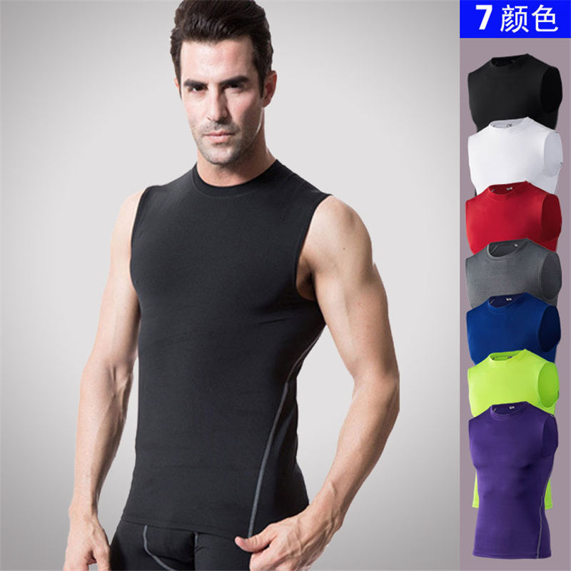 2018 Men Body Compression Base Layer Sleeveless Summer Vest Thermal Under   Top   Tees   Tank     Tops   Fitness Tights High Flexibility Son