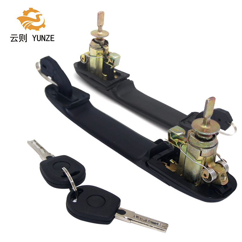 2PCS 6K0837205 6K0837206 FRONT LEFT RIGHT DOOR HANDLE WITH LOCK BARREL FOR VW SHARAN 1995-2010 33MM PIN LENGTH