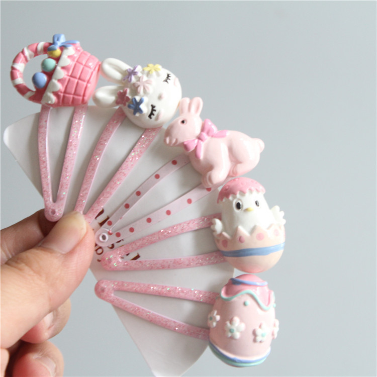 5PCS Cute Rabbit Chicken Flower Basket BB Clips Kids Hairpins Baby Hair Clips Headdress Girls Hair Accessories Children Headwear