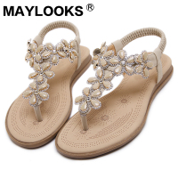 2018 Fashion Bohemian Sandals Flower Rhinestone Foreign Trade Large Yard Flat Shoes Woman Sandals M929 5