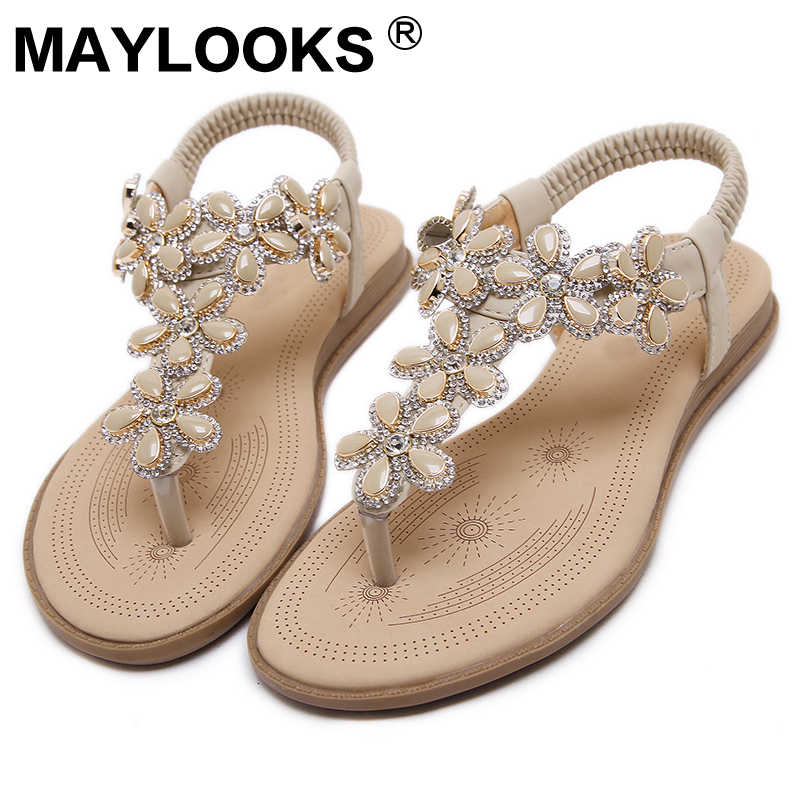 2018 Fashion Bohemian Sandals Flower Rhinestone Commercio estero - Scarpe da donna