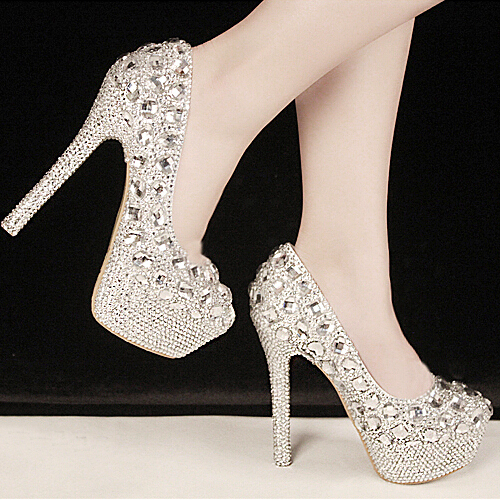 c2cb6d06f549 New Sale Gorgeous Fashion Silver High Heels Crystal Wedding Shoes Lady  Glitter Bridal Dress Shoes Graduation Party Prom Shoes-in Women s Pumps  from Shoes on ...