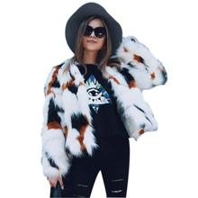 цена на whsix polos Women Mixed Color Faux Fur Coat Fluffy Winter Casual Fur Jacket Elegant Shaggy Ladies Short Outwear Coats 2018