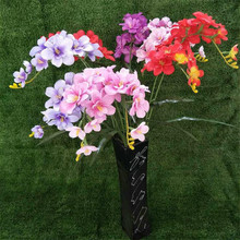 5pcs Artificial Freesia Bunch with Green Leaf  Silk Cattleya Orchid Flowers for Wedding Centerpieces Home Floral Arrangement