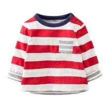 Enfants marque vêtements t chemises pour garçons À Manches Longues T-shirts bande rouge Épaule bouton automne Nouveau Mignon enfants t chemises en gros