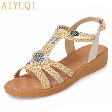 AIYUQI Women sandals Wedge 2019 new summer rome woman large size casual comfortable shoes flat womens sandal