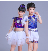 Children's Sequins Jazz Dance Clothes Girls Boys Modern Street Dance Fashion Hip-hop Dance Costume Performance Costume