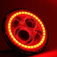 Hot sale 40w led headlight red Lighting 7 angel eyes led hadlight 7 inch round led headlight 12v 24v For Jeep Wrangler