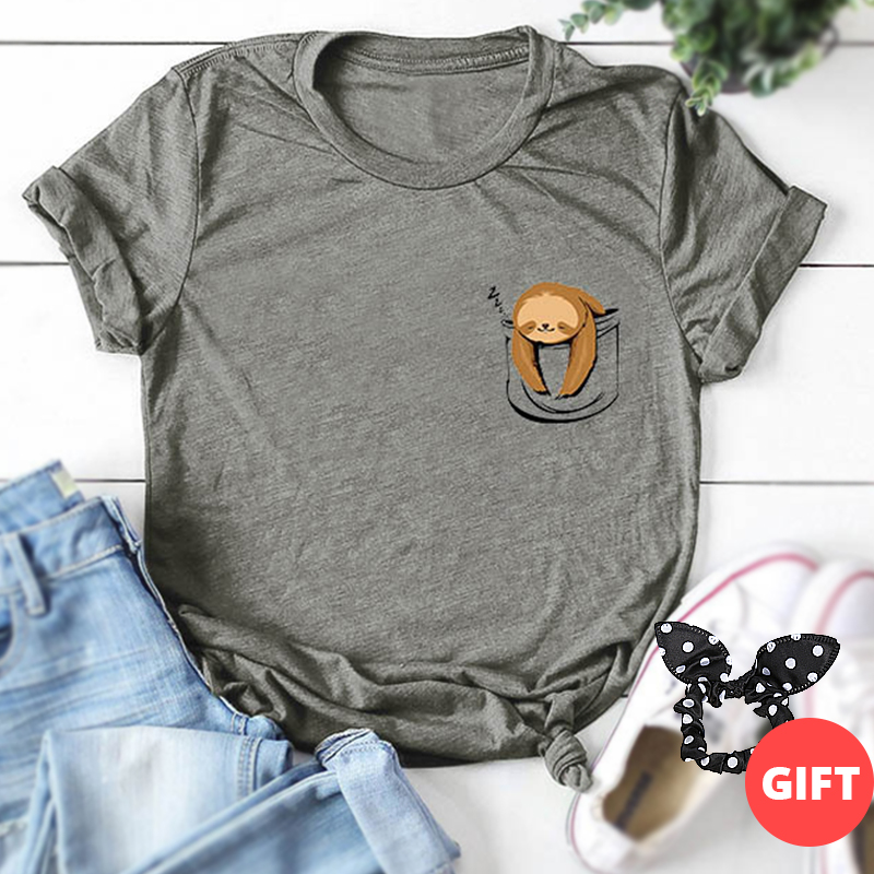 100% Cotton S-5xl Casual Summer Women Print T-shirt Lazy Sloth Cartoon Crop T-shirts Multicolor Funny Oversized Basic Tees Tops