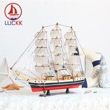 LUCKK 50CM Wooden Model Ships Figurine Home Decoration Mediterranean Style Classics Wood Carfts Nautical Souvenir For