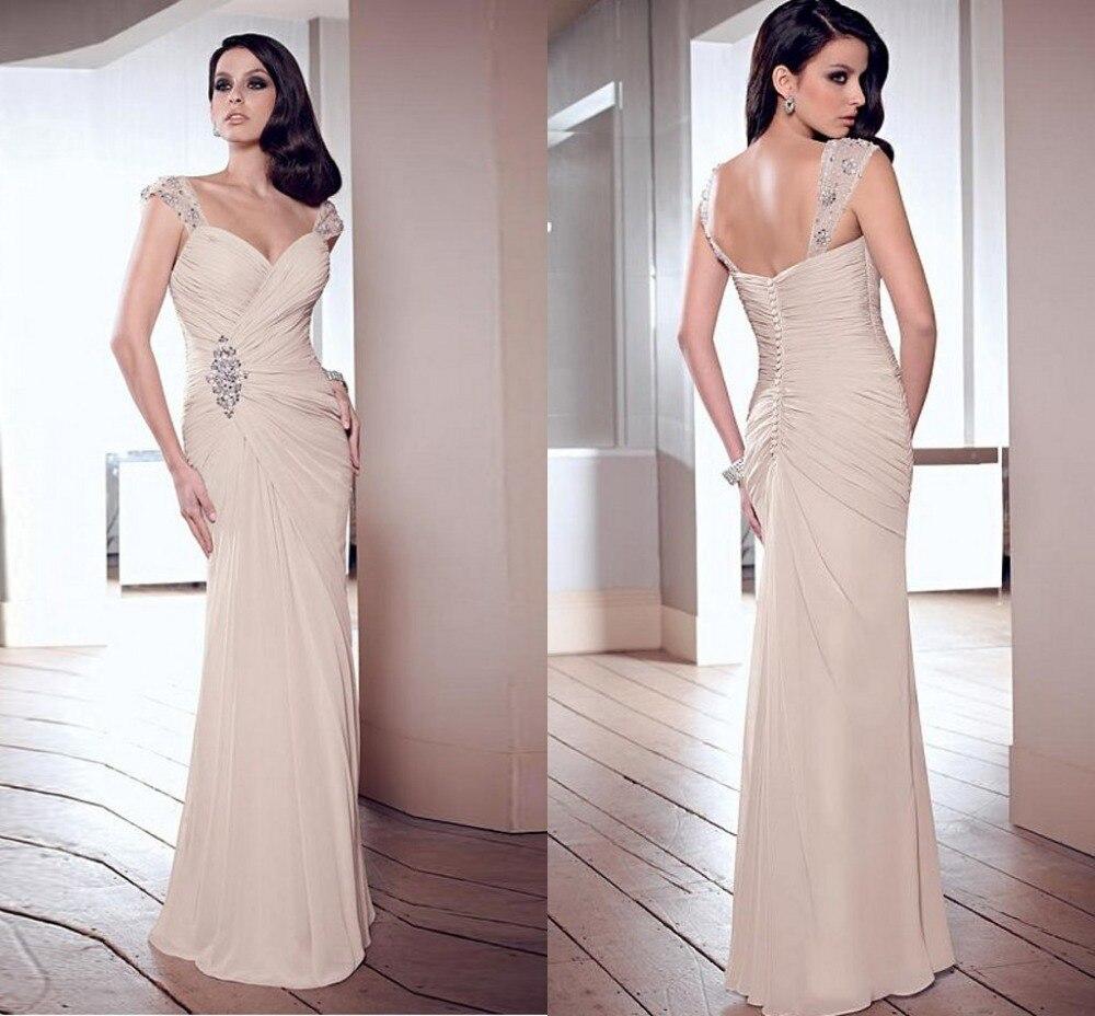 Elegant Sheath Straps Long Pleats Chiffon Evening Formal Floor Length Cap Sleeve Prom Gown Sleeveless Mother Of The Bride Dress