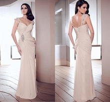 2015 Elegant Sheath V-neck Straps Long Pleats Chiffon Evening Formal Dress Floor Length Cap Sleeve Prom Gown Sleeveless F1982