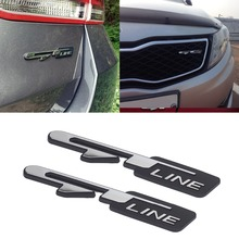 Chrome Car Emblem Badge Sticker Car Front Grills Sticker Rear Trunk Stickers for Kia Optima K3 K5 GT Line Logo Car Accessories 2pcs 3d abs new black car sticker k logo flight front rear emblem badge for kia k5 2011 2013 optima forte emblem cover