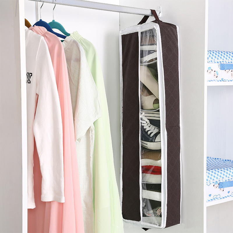 Non-Woven Fabric Organizer High Heels Container 5 Grids Foldable Shoes Storage Box Brown Hanging Wardrobe Storage 80x25x10CM