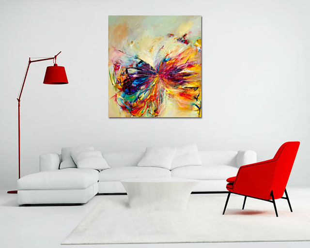 Modern Home Decor Living Room Bedroom Decor Colorful Butterfly Wall Art  Picture Printed Oil Painting On