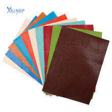 Xugar 22*30cm Plain coloured Litchi Faux Artificial Synthetic Leather Fabric For Bows Sewing DIY Bags Shoes Hnadmade Material