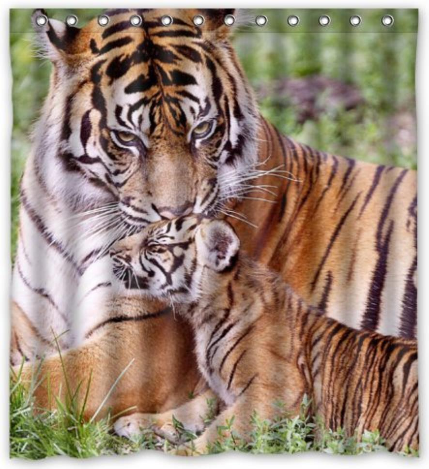 Custom Close Tiger Mom and Son Custom Shower Curtain Pattern Waterproof Fabric Shower Curtain For Bathroom 66*72inch