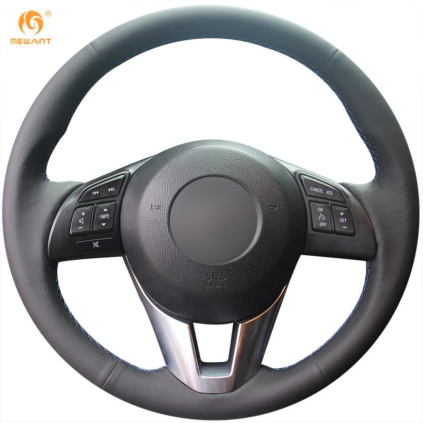 MEWANT Black Genuine Leather Car Steering Wheel Cover for Mazda 3 Axela 2013-2016 Mazda 6 Atenza 2014-2017 Mazda 2 2015-2017 high quality matte abs interior car cover trim 11pcs for mazda 6 atenza 2013 2014 2015