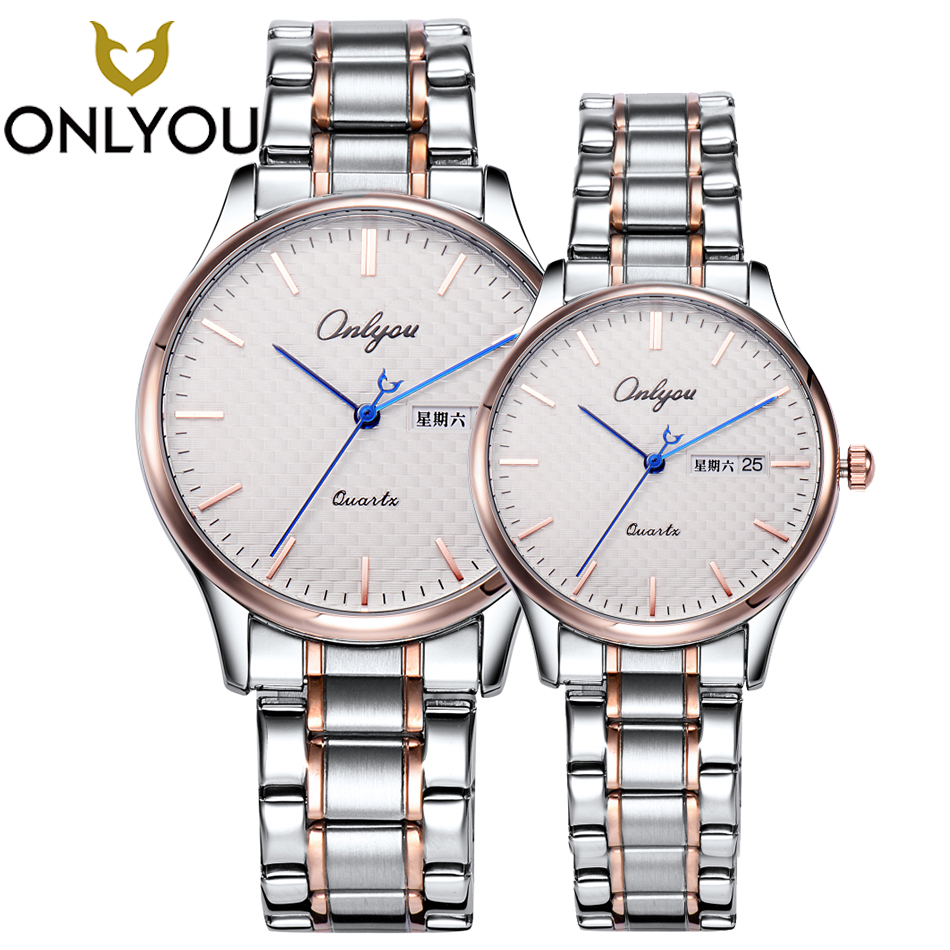 ONLYOU Lovers Watch Men Quartz Top Brand Luxury Stainless Steel Business Male Clock Women Wristwatch Calendar Ladies Waterproof