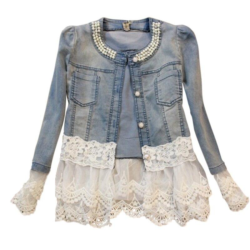 Лоскутная Верхняя одежда для девочек с жемчугом 2018 женская джинсовая куртка с длинным рукавом милые кружевные джинсовые куртки женская джи