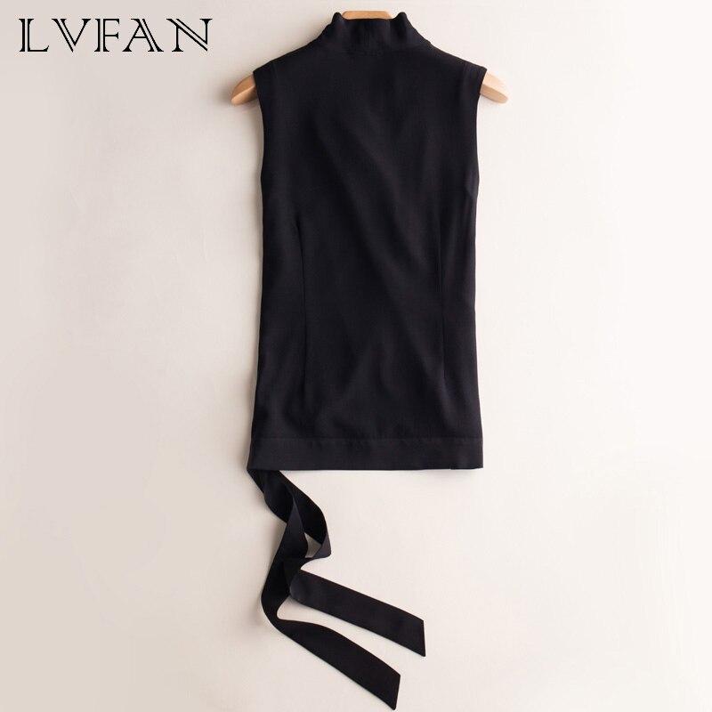 Soie femme col en v sans manches slim ceinture décontractée sauvage soie sommets bureau dame gilet chemise noir rouge blanc LVFAN OCSC-004 - 2