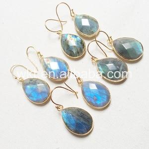 Image 2 - תכשיטים לנשים עגילי ברדורייט הטבעי ברדוריט WT E236 קסם פיאות teardrop אבן טבעי צבעים מתנה יפה