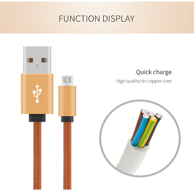 US $3 87 |Spedu Micro USB cable Aluminum Plug leather cables For huawei  Android P8 Lite Mate 7 8 For huawei honor 6 7 For samsung galaxy-in Mobile