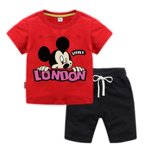 BOTEZAI new fashion childrens sports suit summer boys and girls cartoon Mickey Mouse two-piece clothes