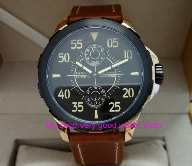 Sapphire 2017 new fashion PARNIS 45mm black dial ST2542 automatic Self-Wind movement men's watch Mechanical watches PVD W272 40mm parnis black dial sapphire glass asian automatic self wind mechanical movement men s watch mechanical watches g56