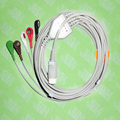 Compatible with PHILIPS(HP) ECG Machine, One-piece ECG cable and leadwires,5 Lead,Snap,AHA or IEC.HP 12pin,Straight connector.