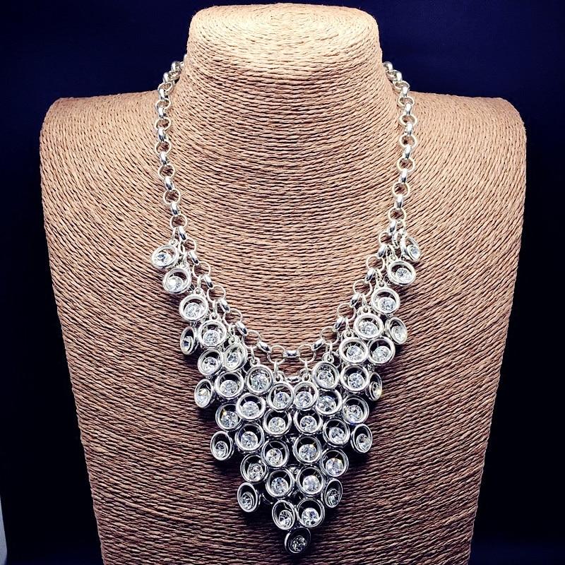 Ювелирные изделия saias Южная Корея Полный стеклянный драгоценный камень ожерелье короткий ложный воротник, свитер, цепь, американские ювели