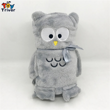 2016 Hot sale cute grey owl doll plush toy blanket portable reelable automotive coral fleece blanket free shipping все цены