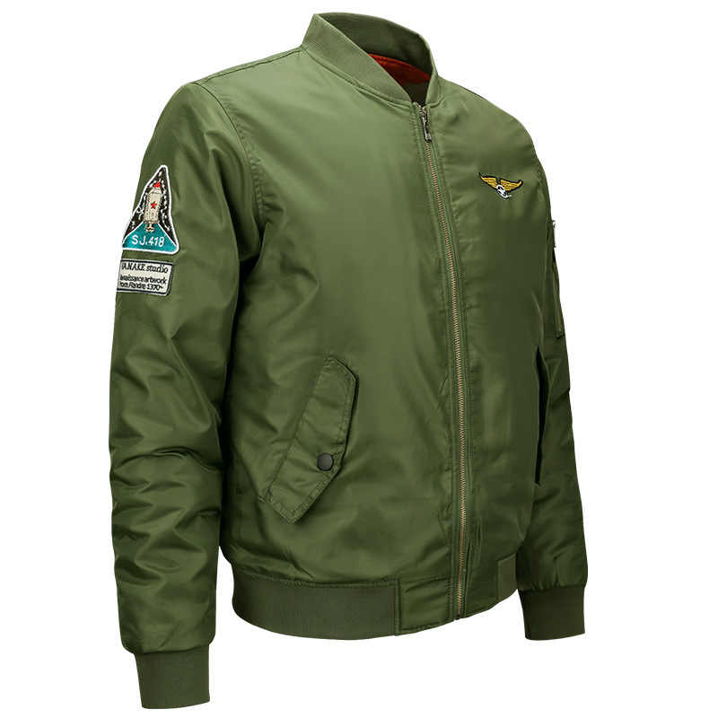 f82524b24 High Quality Ma1 Thick Winter Men Bomber Jacket Air Force One Hip Hop Patch  Slim Fit Pilot Bomber Jacket Coat Men Jackets 6XL