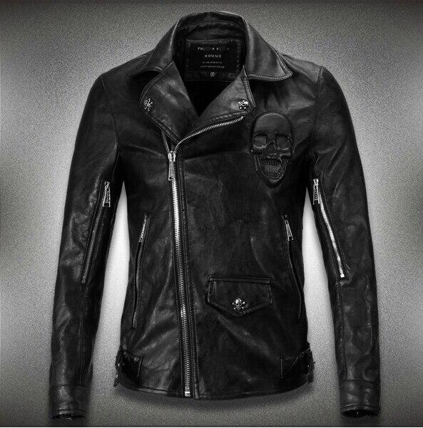 M-3XL! весна и осень Новый мужской бренд Тонкий лацкане кожаная куртка плюс размер черепа мотоцикл Пальто/Бесплатная доставка!