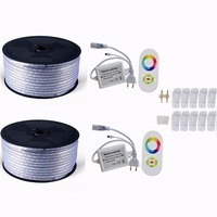 220V 110V LED Strip 5050 50m 100m IP67 Waterproof RGB Dual Color Rope lighting for outdoor with RF Remote controller